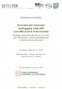Giornata di studio - Innovare per crescere: proteggere i brevetti con efficacia ed in economia